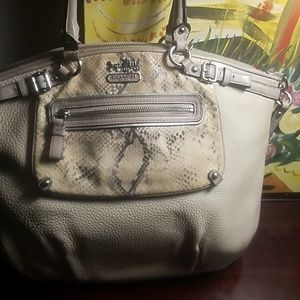Coach large leather satchel snakeskin accented